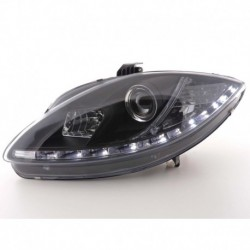 Daylight headlights with LED DRL look Seat Leon type 1P Yr. 05-09 black