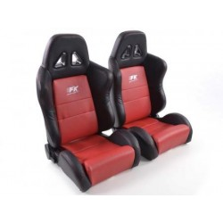 Sportseat Set Dallas used artificial leather red /black seam red /